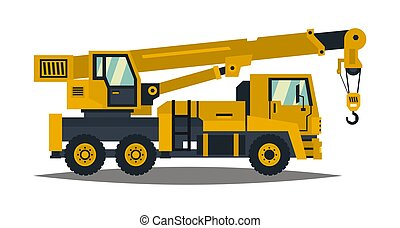 Truck crane. Yellow, isolated on white background. Construction machinery. Vector illustration. Flat style