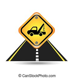truck crane yellow road street sign