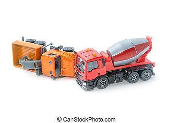 Truck crash, Toy trucks in accident