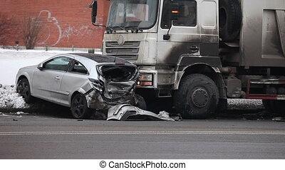 truck crash - truck had an accident winter road
