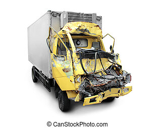 truck crash - truck in an accident isolated on a white...