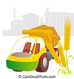 Ear of wheat and truck against the elevator. Illustration on white background.