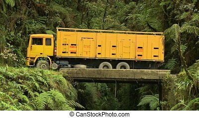 Truck Crossing A Mountain Bridge, Bolivia - Close-up...