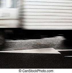truck., déplacer mouvement, road.