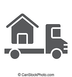 Truck delivers the house glyph icon, real estate and home,...