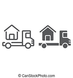 Truck delivers the house line and glyph icon, real estate...