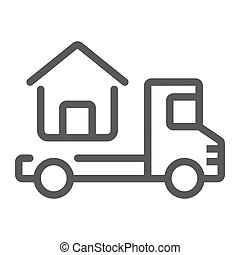 Truck delivers the house line icon, real estate and home,...