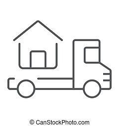 Truck delivers the house thin line icon, real estate and...
