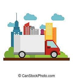 truck delivery business town icon