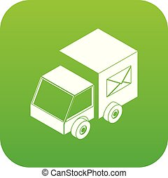 Truck delivery icon green vector
