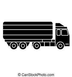 truck delivery line icon, vector illustration, black sign on isolated background