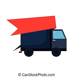 truck delivery on white background