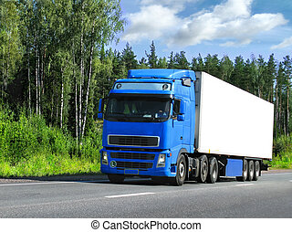 truck delivery, highway Scandinavia