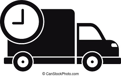 Truck delivery time icon, simple style