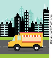 Truck design. food icon. flat illustration