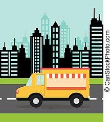 Truck design. food icon. flat illustration