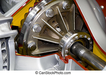 Differential of modern truck interior view