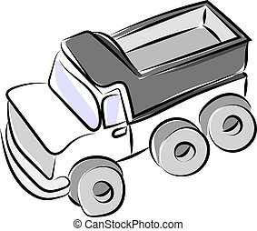 Truck drawing, illustration, vector on white background.