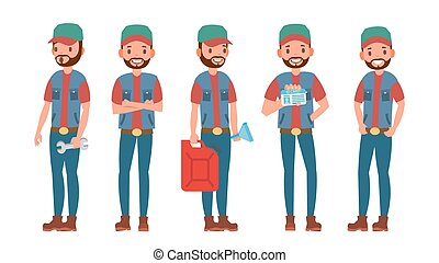 Truck Driver Character Vector. Man. Classic Driver. Isolated...