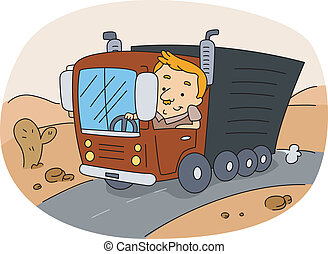Truck Driver - Illustration of a Truck Driver at Work
