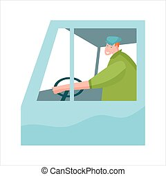 Truck driver in cabin with steering wheel