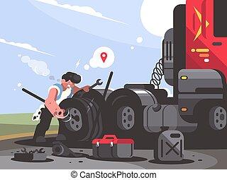 Truck driver is repairing car. Trucker lorry changes wheel. ...