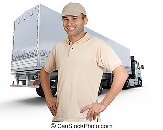 Truck driver - Isolated image of a man in front of a trailer...