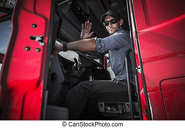 Truck Driver Leaving Warehouse - Tractor Trailer Truck...