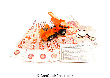 truck, driving license and money