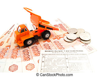 truck, driving license, coins and banknotes