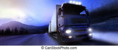 truck driving on country-road/photographic-retouching