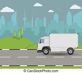 Truck driving on the road. Cargo transportation