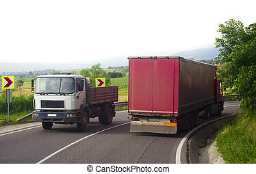 truck driving on the road. transportation concept