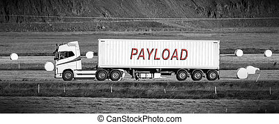 Truck driving through a rural area - Payload - White trruck...