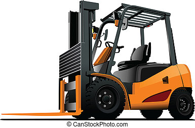 truck., elevador, vetorial, forklift., illust