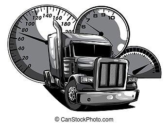 truck., enfärgad, konst, design, tecknad film, halv-, vektor, illustration