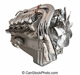 Truck engine in chrome