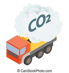 Truck exhaust icon, isometric style