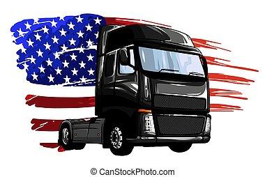 truck., flagga, amerikan, vektor, klassisk, illustration