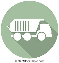 Truck flat icon with long shadow