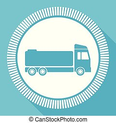 Truck flat vector icon, cistern square blue web button