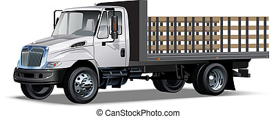 Flatbed truck Available EPS-10 separated by groups and layers with transparency effects for one-click repaint