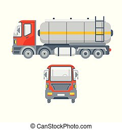 truck for oil side view and front view