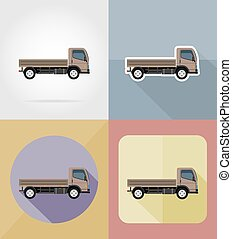 truck for transportation cargo flat icons vector illustration