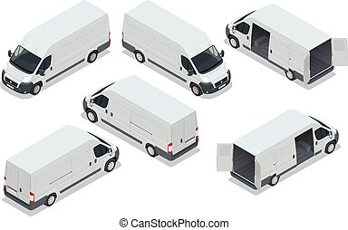 Truck for transportation cargo. Van for the carriage of cargo. Delivery car. Vector isometric illustration