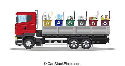 Truck for transportation garbage.