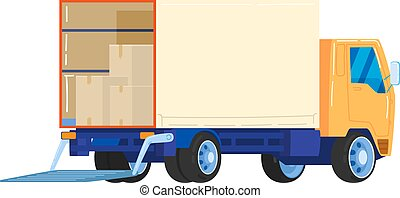 Truck for transporting cargo, not cars, transport for business, design cartoon style vector illustration, isolated on white.