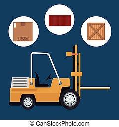 truck forklift warehouse machine work box container