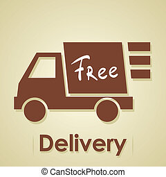 Truck free delivery. Iillustration of shipments goods and commodities.