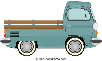 Truck - 	Funny cartoon retro van or small bus. Vector